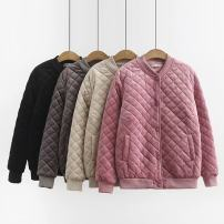 Women's large Winter 2020, autumn 2020 Black, gray, pink, beige Large XL, large XXL, large XXL, large XXXXL, large XXXXL cotton-padded clothes singleton  commute easy thick Cardigan Long sleeves Korean version stand collar routine Three dimensional cutting 25-29 years old