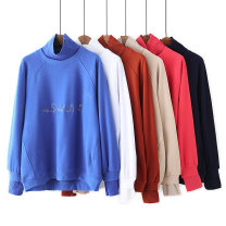 Women's large Spring 2021, autumn 2021 White, apricot, sapphire, Navy, watermelon red, caramel Large XL, large XXL, large XXL, large XXXXL, large XXXXL Sweater / sweater Fake two pieces commute easy moderate Socket Long sleeves letter Korean version High collar routine cotton routine LL----6833