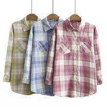 Women's large Autumn 2020 Pink, light blue, green Large XL, large XXL, large XXL, large XXXXL, large L shirt singleton  commute moderate Cardigan Long sleeves Korean version Polo collar cotton Three dimensional cutting qyx-----978 25-29 years old