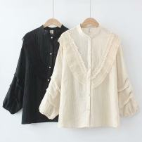 Women's large Spring 2021 Black, beige Large XL, large XXL, large XXL, large XXXXL, large XXXXL shirt singleton  commute Straight cylinder moderate Cardigan Long sleeves Solid color Korean version stand collar routine cotton Three dimensional cutting routine HT----1115 25-29 years old Button
