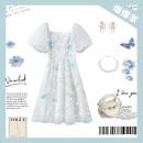 Dress Summer 2021 Gauze fog blue S (80-100kg), m (101-110kg), l (111-125kg) Short sleeve commute Solid color zipper routine 25-29 years old More than 95%