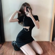 Dress Summer 2021 black S,M,L,XL Short skirt singleton  Short sleeve commute Crew neck High waist Solid color Socket A-line skirt routine Others 18-24 years old Type A Korean version RJ985 51% (inclusive) - 70% (inclusive) other