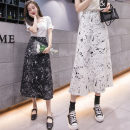 skirt Summer 2021 S,M,L,XL Gray, white, black Mid length dress commute High waist A-line skirt other Type A 18-24 years old w996 51% (inclusive) - 70% (inclusive) cotton Paint splashing Korean version