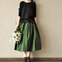 skirt Spring of 2019 Average size longuette commute Natural waist Fluffy skirt Solid color Type A 30-34 years old 31% (inclusive) - 50% (inclusive) other Other / other hemp Old, button Retro 161g / m ^ 2 (including) - 180g / m ^ 2 (including)