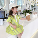 Dress Green, pink female Other / other 80cm,90cm,100cm,110cm,120cm,130cm Other 100% summer Korean version Short sleeve stripe cotton Pleats 7 years old, 12 months old, 3 years old, 6 years old, 18 months old, 9 months old, 6 months old, 2 years old, 5 years old, 4 years old
