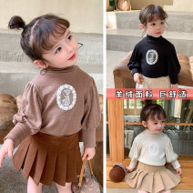T-shirt Beige [cashmere], black [cashmere], coffee [cashmere] Other / other 80cm,90cm,100cm,110cm,120cm,130cm female winter Long sleeves Crew neck Korean version There are models in the real shooting nothing cotton Cartoon animation YZJ little girl T-shirt