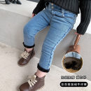 trousers Other / other female 90cm,100cm,110cm,120cm,130cm,140cm blue winter trousers Korean version There are models in the real shooting Jeans Leather belt middle-waisted Cotton elastic denim Don't open the crotch Ygm2 button Plush jeans Ygm2 button Plush jeans