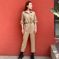 Jumpsuit / pants 71% (inclusive) - 80% (inclusive) trousers polyester fiber High waist commute Camel, black S,M,L routine Spring 2021 Overalls DR02SS2B03002-591 Duo rivers Pocket, belt