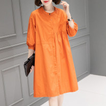 Dress Summer 2021 orange M L Mid length dress singleton  elbow sleeve commute Crew neck Loose waist Solid color Single breasted other routine Others 40-49 years old Type H Han Sheba Li Korean version Button 3F998B 51% (inclusive) - 70% (inclusive) other polyester fiber Polyester 55% cotton 45%