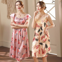 Nightdress Other / other M is suitable for 80-100kg, l is suitable for 100-120kg, XL is suitable for 120-140kg, XXL is suitable for 140-160kg, 3XL is suitable for 160-180kg, 4XL is suitable for 180-200kg sexy Short sleeve pajamas Middle-skirt summer Solid color Crew neck Iced silk printing 240g