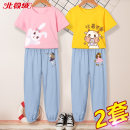suit Beijirog / Arctic velvet 110cm 120cm 130cm 140cm 150cm 160cm 165cm female summer leisure time Short sleeve + pants 4 pieces or more Thin money No model Socket nothing Cartoon animation cotton children Giving presents at school bejirog02839 Class B Cotton 100% Summer 2021 Chinese Mainland