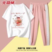 suit Beijirog / Arctic velvet 110cm 120cm 130cm 140cm 150cm 160cm 165cm female summer leisure time Short sleeve + pants 2 pieces Thin money There are models in the real shooting Socket nothing Cartoon animation cotton children Giving presents at school bejirog2020A73 Class B Cotton 100% Summer 2021