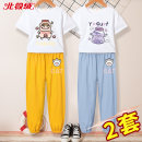 suit Beijirog / Arctic velvet 110cm 120cm 130cm 140cm 150cm 160cm 165cm female summer leisure time Short sleeve + pants 4 pieces or more Thin money There are models in the real shooting Socket nothing Cartoon animation cotton children Learning reward bejirog007092 Class B Cotton 100% Summer 2021