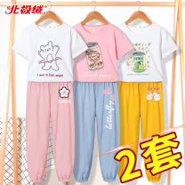 suit Beijirog / Arctic velvet 110cm 120cm 130cm 140cm 150cm 160cm 165cm female summer motion Short sleeve + pants 4 pieces or more Thin money There are models in the real shooting Socket nothing Cartoon animation cotton children Giving presents at school Class B Cotton 100% Summer 2021 Hubei province
