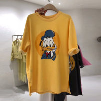 T-shirt Black, pink, yellow XL,2XL,L,M Summer 2020 Short sleeve Crew neck easy Medium length routine commute polyester fiber 96% and above 18-24 years old Cartoon animation Yin Rulan printing