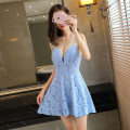 Dress Summer of 2019 S, M Short skirt singleton  middle-waisted Solid color zipper A-line skirt Lace