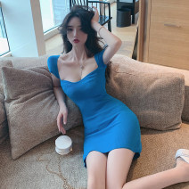Dress Summer 2020 Purple, blue, black Average size Short skirt singleton  Short sleeve commute square neck High waist Solid color Socket One pace skirt routine Others Type H Korean version 31% (inclusive) - 50% (inclusive) other other