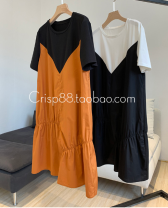 Dress Summer 2020 Black spell orange spot day hair, white spell black three days hair S,M,L Middle-skirt Short sleeve Crew neck Socket routine