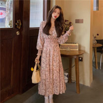 Dress Spring 2021 Pink flowers, blue flowers Average size Mid length dress singleton  Long sleeves Sweet V-neck High waist Decor Socket A-line skirt routine 18-24 years old Type H printing 30% and below other other college