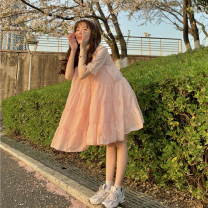 Dress Summer 2021 White, pink Average size Short skirt singleton  Short sleeve Sweet Crew neck High waist Solid color Socket A-line skirt 18-24 years old Type A 30% and below college