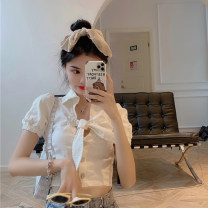 shirt White, black, pink S, M Spring 2021 other 30% and below Short sleeve commute Short style (40cm < length ≤ 50cm) V-neck Single row multi button puff sleeve other 18-24 years old Self cultivation Korean version