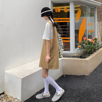Dress Summer 2021 Khaki, black Average size Short skirt singleton  Sleeveless commute High waist Solid color Socket A-line skirt straps 18-24 years old Type A Korean version 30% and below other