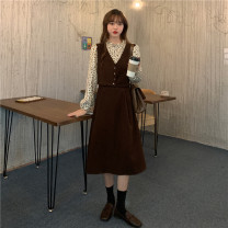 Dress Spring 2021 Red, black, coffee Average size Mid length dress Fake two pieces Long sleeves commute stand collar High waist other other A-line skirt other Others 18-24 years old Type A Retro 30% and below other