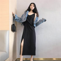 Dress Spring 2021 black Average size Mid length dress singleton  Sleeveless commute V-neck High waist Solid color Socket Irregular skirt camisole 18-24 years old Type A Korean version Splicing 30% and below other