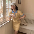 Dress Summer 2021 Short skirt singleton  Short sleeve commute Polo collar High waist Broken flowers other routine Others 18-24 years old Type A Korean version 30% and below other S,M Yellow and blue skirt, black and white skirt