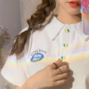 T-shirt Summer 2021 Short sleeve Polo collar easy Regular payment routine Sweet other 30% and below 18-24 years old youth college white One size fits all