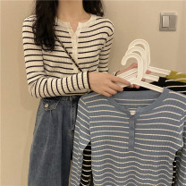 Wool knitwear Autumn 2020 Average size White, blue, yellow, black Long sleeves singleton  Socket other 30% and below Regular Thin money commute Self cultivation Low crew neck routine stripe Korean version 18-24 years old Button