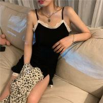 Dress Spring 2021 Sling piece, leopard shirt piece Average size Short skirt singleton  Sleeveless commute High waist Solid color Socket Irregular skirt camisole 18-24 years old Type A Retro Stitching, lace 30% and below other other