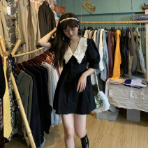 Dress Spring 2021 Picture color S, M Short skirt singleton  Short sleeve commute V-neck High waist Socket A-line skirt puff sleeve 18-24 years old Type A Korean version Stitching, lace 30% and below other