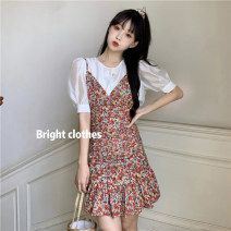 Dress Summer 2021 White coat, pink coat, blue coat, blue flower, red flower, broken flower Average size, s, M Short skirt singleton  Short sleeve commute V-neck High waist lattice other other camisole 18-24 years old Type A Korean version backless 30% and below other other