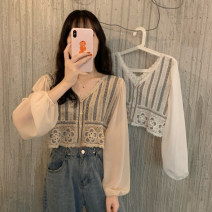 shirt Average size Spring 2021 other 30% and below Long sleeves commute Short style (40cm < length ≤ 50cm) V-neck Socket bishop sleeve other 18-24 years old Retro