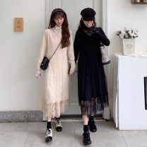 Dress Spring 2021 Black, apricot Average size Mid length dress Fake two pieces Long sleeves commute V-neck High waist Solid color Socket A-line skirt routine 18-24 years old Type A Stitching, lace 30% and below other other
