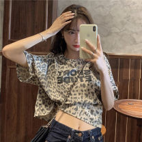 T-shirt White, apricot Average size Summer 2021 Short sleeve Crew neck easy have cash less than that is registered in the accounts routine commute other 30% and below 18-24 years old Korean version youth printing