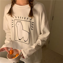 T-shirt Black short sleeves, white long sleeves, white short sleeves, black long sleeves Average size Spring 2021 Long sleeves Crew neck easy Regular routine commute other 30% and below 18-24 years old Korean version youth Animal design printing