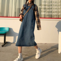 Dress Spring 2021 Picture color Average size Mid length dress singleton  Sleeveless commute Crew neck Loose waist Solid color Socket straps 18-24 years old Type H Retro 30% and below other