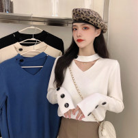 Wool knitwear Autumn 2020 Average size Black, white, apricot, blue Long sleeves singleton  Socket other 30% and below Regular routine commute V-neck routine Solid color Socket Korean version 18-24 years old