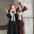 Dress Spring 2021 Black, brown S,M,L Mid length dress singleton  Long sleeves commute square neck High waist Socket A-line skirt puff sleeve 18-24 years old Type A Korean version bow 30% and below other