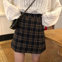 skirt Spring 2021 S,M,L Black and white, yellow Short skirt commute High waist A-line skirt lattice Type A 18-24 years old 30% and below other Korean version