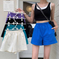 Casual pants White, black, blue, purple, lake green S,M,L Summer 2021 shorts Wide leg pants High waist commute Thin money 18-24 years old 96% and above cotton Korean version pocket cotton