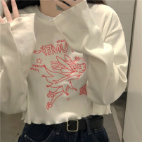 T-shirt White, black Average size Spring 2021 Long sleeves Crew neck have cash less than that is registered in the accounts routine commute other 30% and below 18-24 years old Korean version youth Embroidery