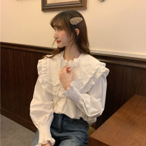 shirt White, purple Average size Spring 2021 other 30% and below Long sleeves Sweet Regular Lotus leaf collar Single row multi button puff sleeve Solid color 18-24 years old Button college