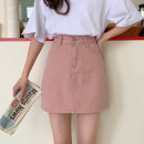 skirt Spring 2021 S,M,L,XL White, black, pink Short skirt Sweet High waist A-line skirt Solid color Type A 18-24 years old 30% and below other other
