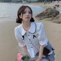 shirt Summer 2021 other 30% and below Short sleeve Sweet Short style (40cm < length ≤ 50cm) Doll Collar Single row multi button puff sleeve other 18-24 years old college One size fits all Skirt, shirt