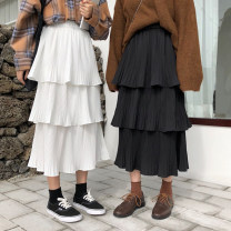 skirt Spring 2021 Average size Black, white Mid length dress commute High waist Cake skirt Solid color Type A 18-24 years old 30% and below Ruffles, folds Korean version