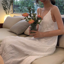 Dress Spring 2021 White, black Average size Mid length dress singleton  Sleeveless commute V-neck High waist Solid color other A-line skirt camisole 18-24 years old Type A Korean version fold 30% and below other
