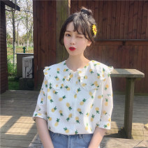 shirt Pink sunflower, yellow pineapple, pure white, white sunflower Average size Summer 2021 other 30% and below Short sleeve Sweet Regular Doll Collar Single row multi button routine Broken flowers 18-24 years old Print, button college
